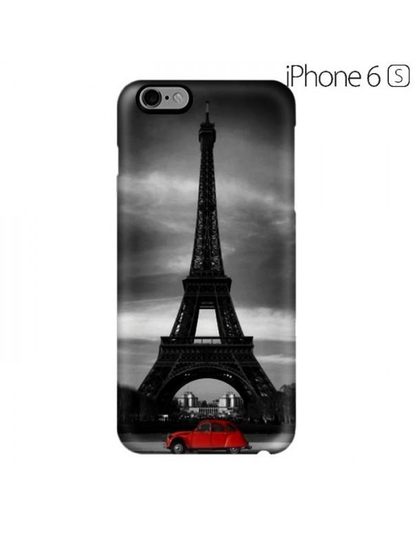Coque rigide iPhone 6/6S - Motif Tour Eiffel 2cv rouge