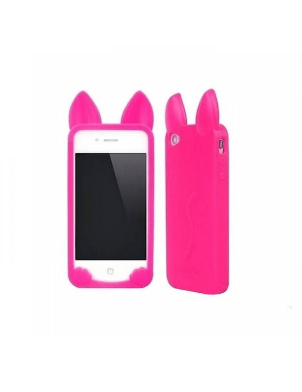 Coque silicone iPhone 5/5S, SE Chat rose fushia Oreilles 3D