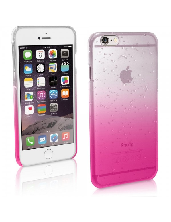 Coque rigide  iphone 6/6S - Fushia translucide effet 3d goutte de pluie