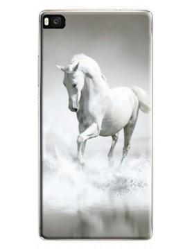 Coque rigide pour Huawei P8 Lite - Magnifique cheval blanc sur l'eau