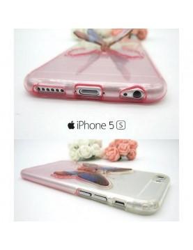 iPhone 5/5S coque souple transparente Rose avec papillon 3D