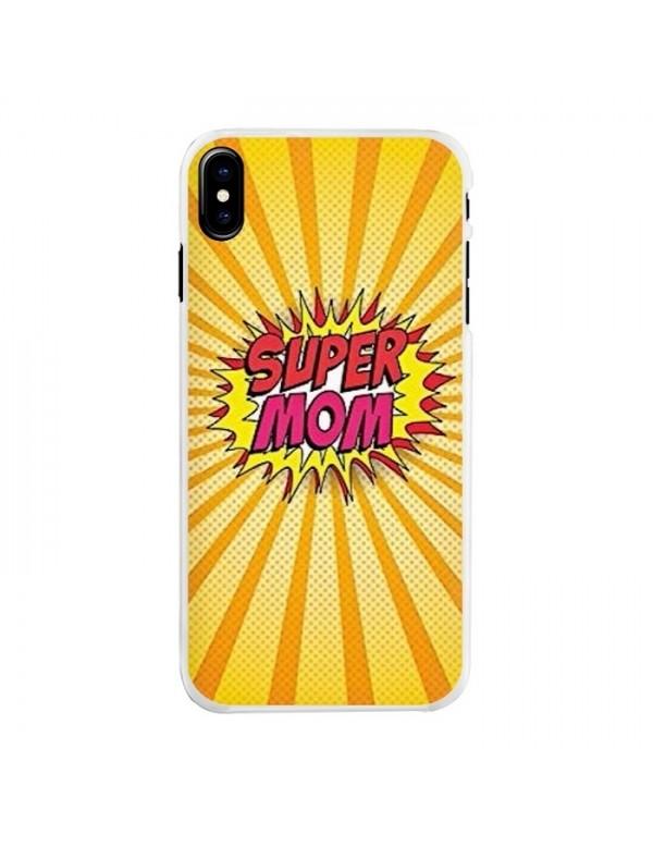 Coque iPhone X/XS contour souple - Super Mom explosive.
