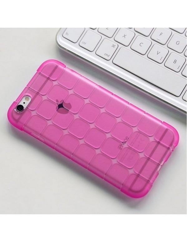Coque iPhone 7 PLUS/8 PLUS, silicone rose translucide petits carrés