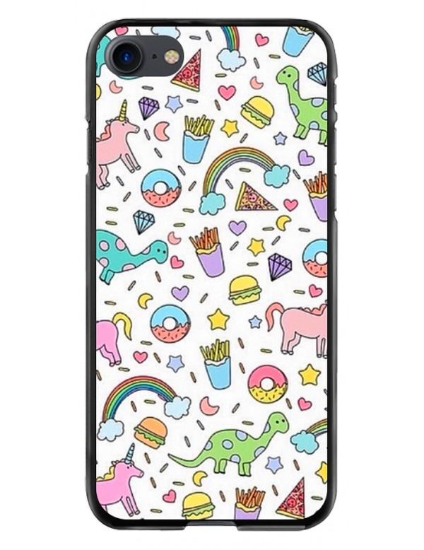 Coque Protection iPhone 7/8 Look Licornes Arc en ciel Dinosaures Frite