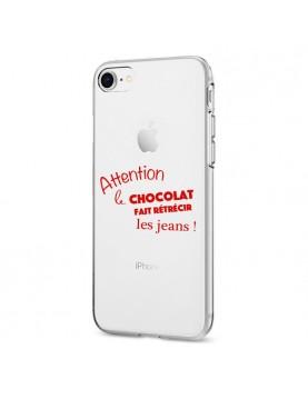 COQUE EN SILICONE TRANSPARENTE IPHONE 7/8 - ATTENTION AU CHOCOLAT