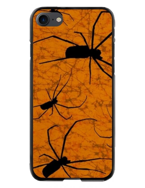 Coque pour iPhone 7et 8 - Motif araignées sur fond orange Halloween