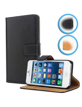 Etui portefeuille iPhone 5/5S, SE DE 2016 - Simili cuir noir