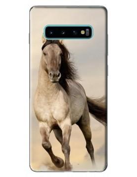 Coque de protection cheval beige au galop pour Samsung Galaxy S10