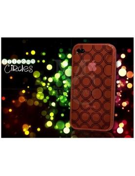 Coque souple iPhone 4/4S - Petits cercles -Orange translucide