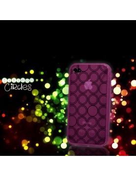 Coque en silicone iPhone 4/4S - Cercles - Rose translucide