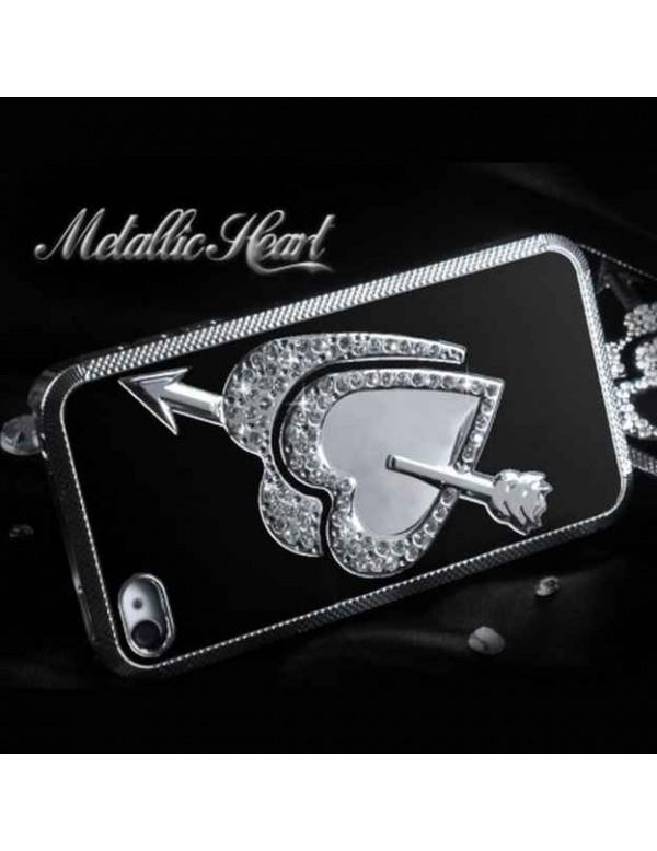 Coque rigide iPhone 4/4S Metallic coeur fleché-Noir