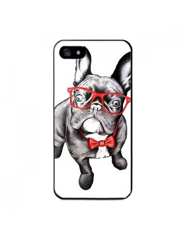Coque iPhone 4 4S contour souple noir - Chien à lunettes