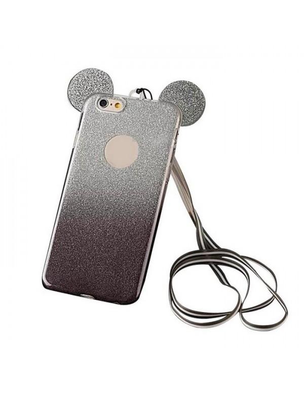Coque silicone iPhone 7 PLUS/8 PLUS -  Oreilles de Mickey pailletée Noir