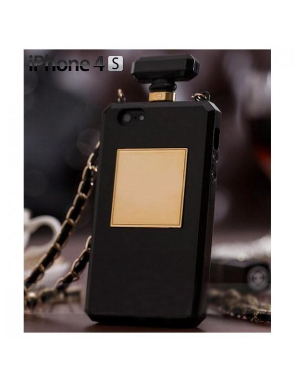 Coque souple iPhone 4/4S - Bouteille parfum noir.