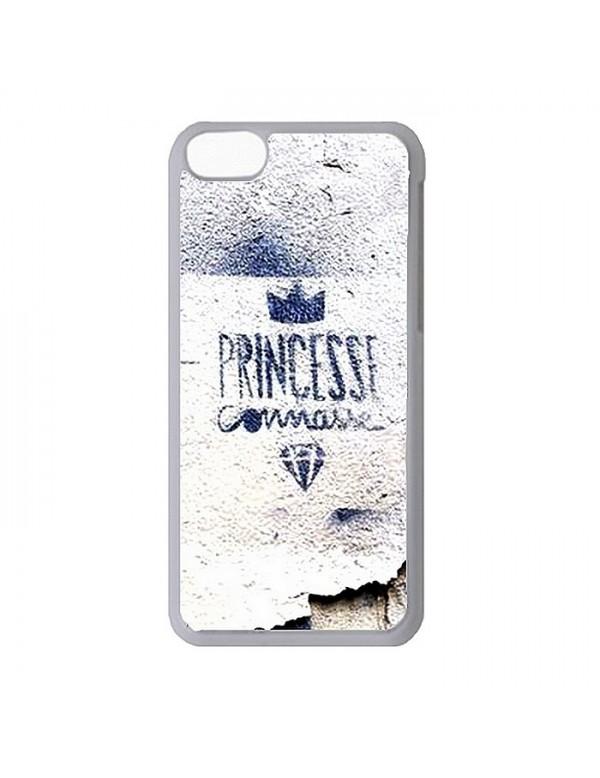 Coque rigide blanche iPhone 4/4S - Princesse connasse bleu