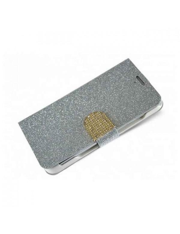 Etui portefeuille iPhone 6 Plus/6S Plus - Look Glam strass - Argent