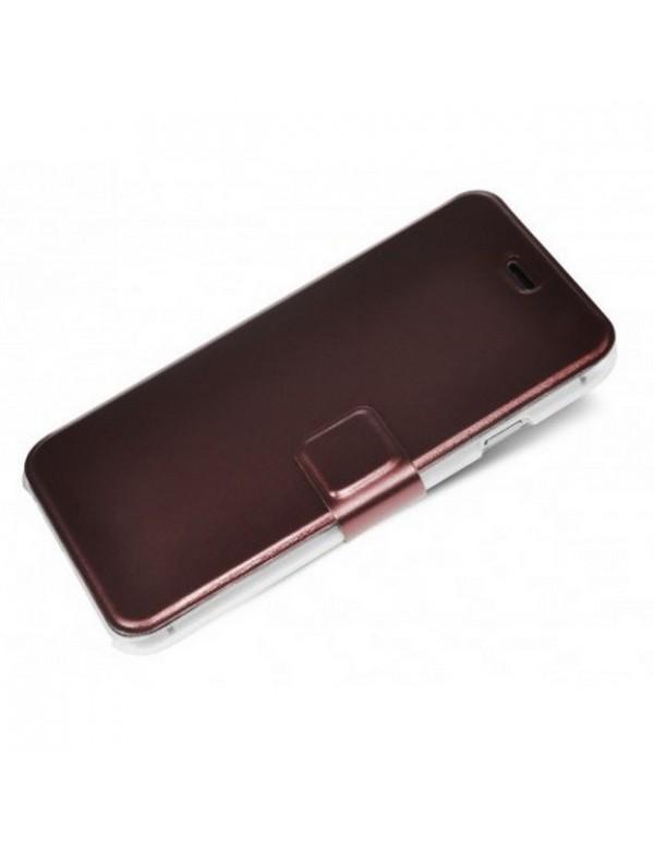 Etui portefeuille iPhone 6/6S - Effet métallique bordeaux