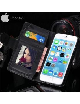 Étui portefeuille iPhone 6/6S - Simili-cuir noir