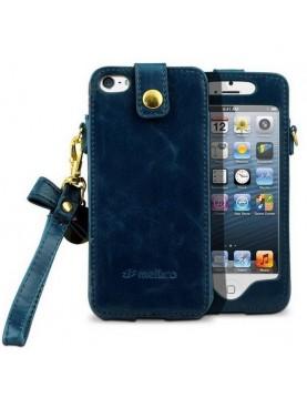 Etui à clapet iPhone 5/5S, SE - Melkco Leather - Bleu