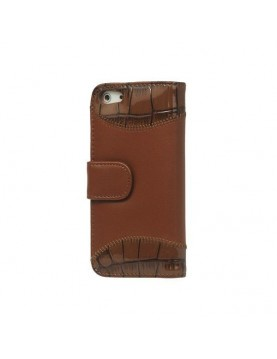 Etui portefeuille iPhone 5/5S, SE - Croco Shine Wallet - Marron