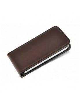 Etui à clapet iPhone 4/4S en simili cuir Marron foncé