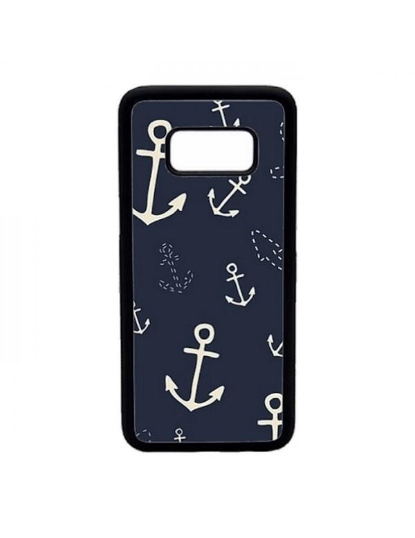 Coque rigide Samsung Galaxy S8 - Ancres sur fond bleu marine